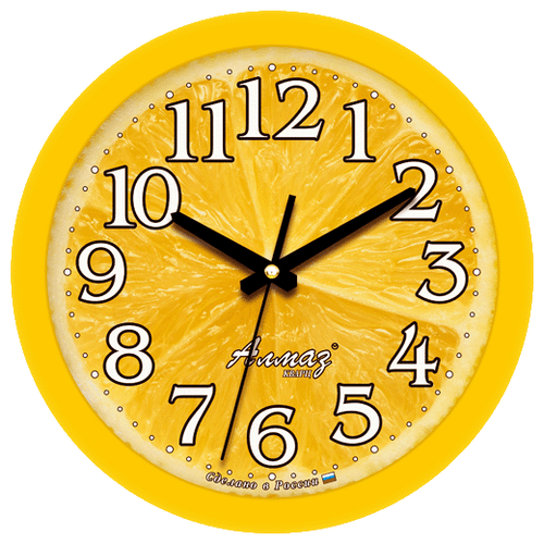 Часы настенные кварцевые Алмаз E32 желтый цена 2017