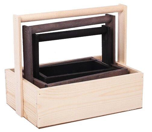 Ящик Дарите счастье набор 3 в 1 с шильдиком и ручкой От всего сердца 31,5×21,5×26 см