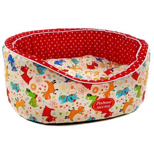 Лежак для собак и кошек Родные места Премиум №1 Собачки с красным горошком 43х38х15 см белый/красный