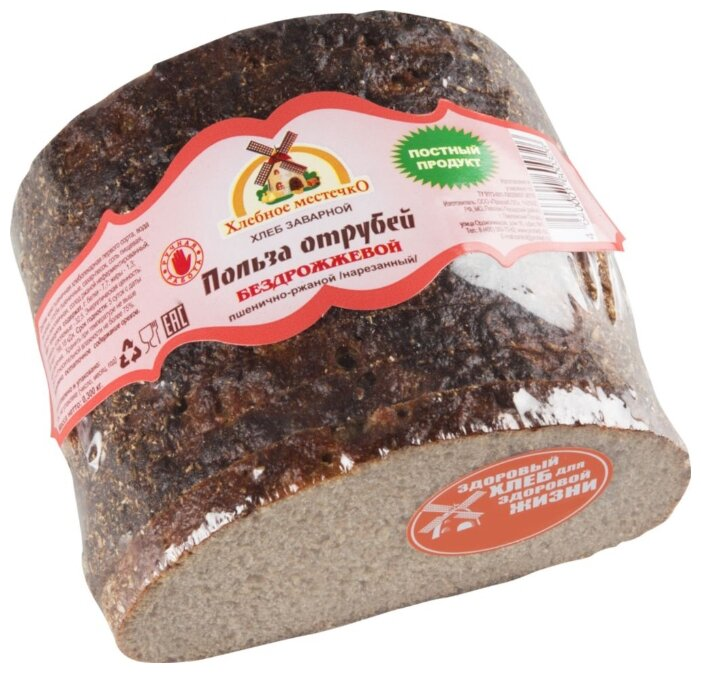 Хлеб Польза отрубей Хлебное местечко бездрожжевой заварной нарезанный, 300 г