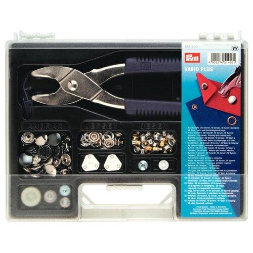 Купить Prym Набор Vario-Plus, базовый (651420), серебристый/черный, 90 шт., Кнопки