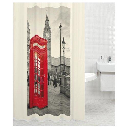 Штора для ванной Bath Plus London 180х200 серый/красный