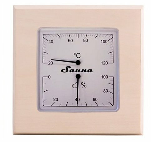 Термогигрометр SAWO 225-THA (квадратный) (Осина (A), 180x180 мм)