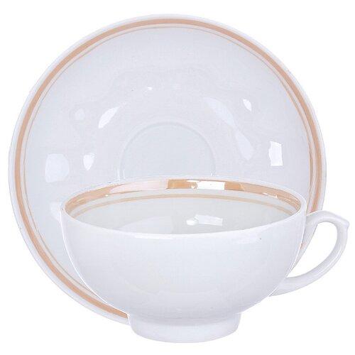 Дулёвский фарфор Чашка чайная с блюдцем Рубин Отводка люстром 220 мл