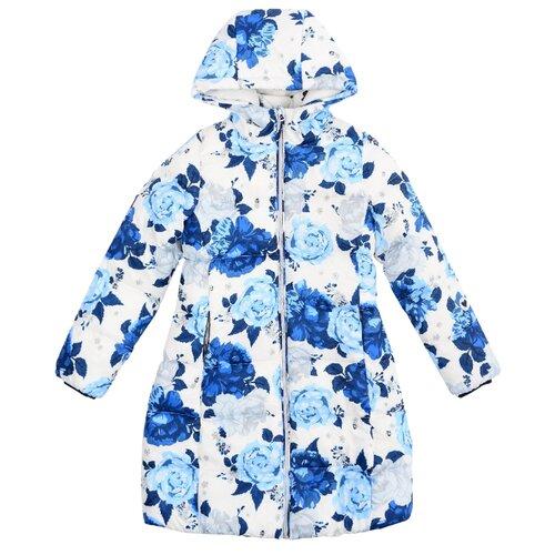Купить со скидкой Пальто playToday 382101 размер 116, белый/синий/светло-серый