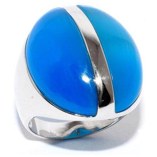 Silver WINGS Кольцо с кошачьим глазом из серебра 21sr0455-c020+c021-97, размер 17 фото