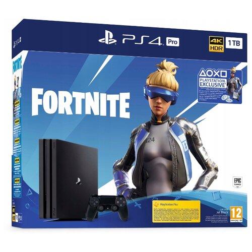 Игровая приставка Sony PlayStation 4 Pro черный + дополнительные материалы для Fortnite (Epic Neo Versa Outfit, украшения на спину Epic Neo Phrenzy Back Bling и 2000 В-баксов)