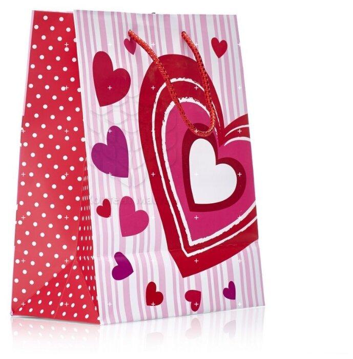 Пакет подарочный УРРА с блестками 18х23х10 см