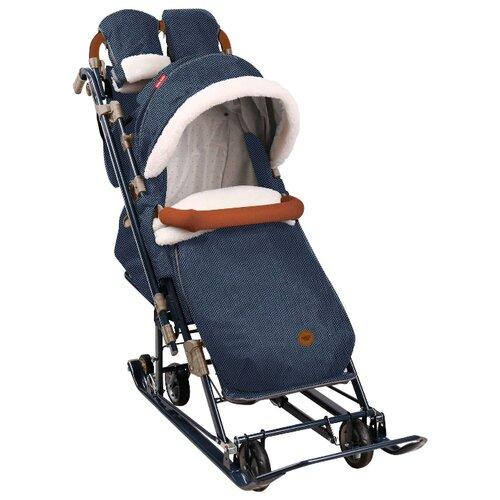 Санки-коляска Nika Ника Детям 7-8 (НД7-8) в елочку синий nika kids санки коляска ника детям умка 3 3 принт вязаный