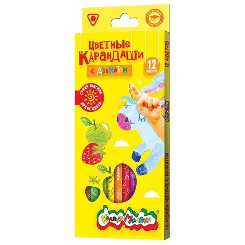 Купить Каляка-Маляка Карандаши цветные ароматизированные 12 цветов (КТКМ12А), Цветные карандаши