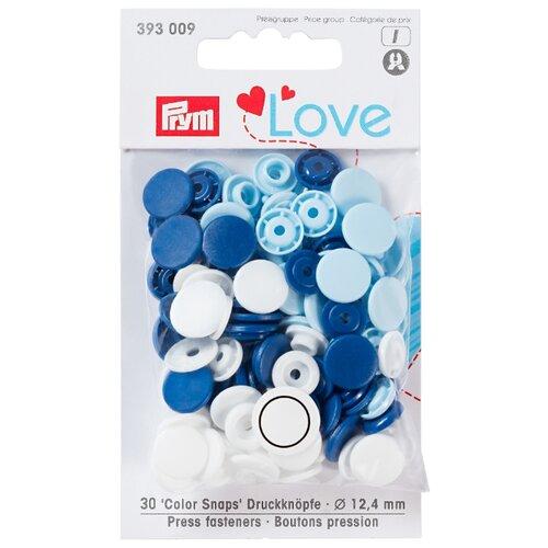 Prym Кнопки непришивные Love - Color Snaps 393009, синий/белый/голубой 12.4 мм, 30 шт.
