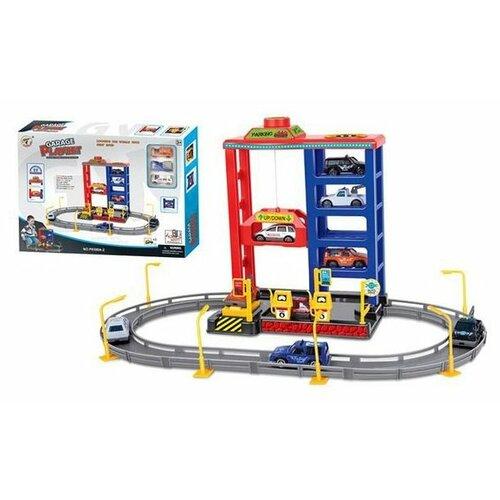 Купить Metr+ Паркинг 4-х уровневый Garage Playset P8388A-2 красный/синий/серый, Детские парковки и гаражи