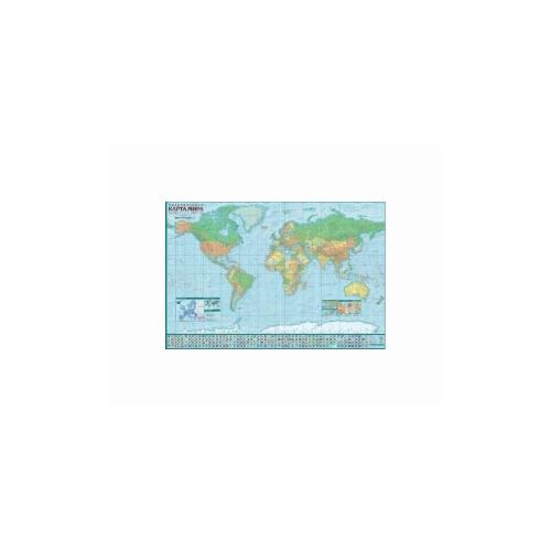 Купить Политическая карта мира. Настенная карта с антибликовой ламинацией, 120x80 см, Гео-Трейд, Учебные пособия