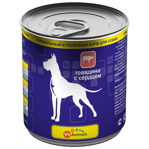 Корм для собак VitAnimals (0.75 кг) 12 шт. Консервы для собак Говядина с Сердцем 12шт. х 750г
