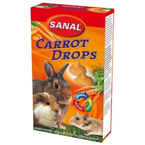 Лакомство для кроликов, грызунов SANAL Carrot Drops с морковкой и витамином C 45 г