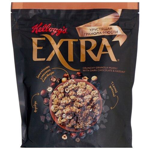 Гранола Kellogg's хлопья с темным шоколадом и фундуком, дой-пак, 300 г гранола verestovo хлопья банан малина воздушные шоколадные шарики дой пак 300 г