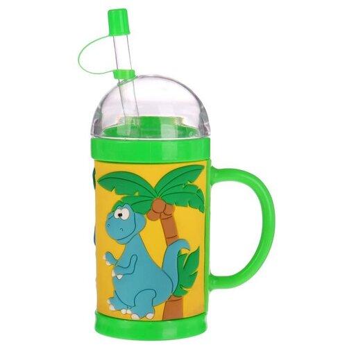 """Поильник с трубочкой """"Динозавры"""", 300 мл зеленый"""