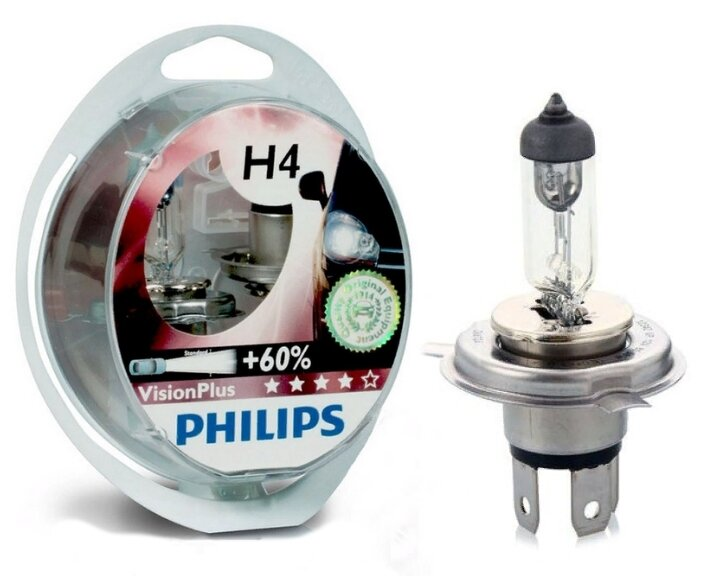 Лампа автомобильная галогенная Philips H4 3250K Vision Plus 12V 60/55W + 60%
