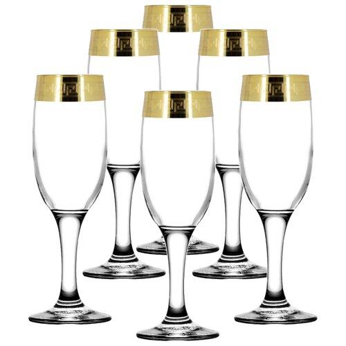 ГУСЬ-ХРУСТАЛЬНЫЙ Набор бокалов Версаче голд 6 шт 190 мл прозрачный гусь хрустальный набор бокалов для бренди лоза tav116 1812 6 шт прозрачный золотой