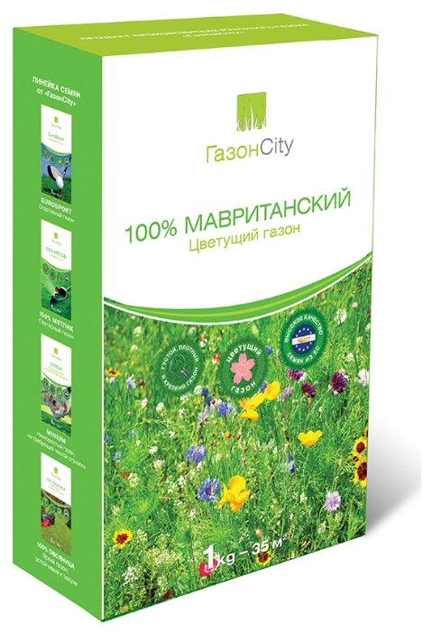 Смесь семян для газона ГазонCity 100% Мавританский цветущий газон, 1 кг