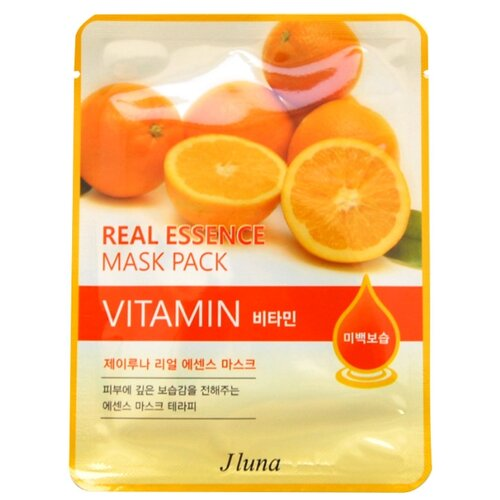 Фото - Juno тканевая маска Real Essence Mask Pack с витаминами, 25 мл маска тканевая juno j luna q10 для лица 3 шт 25 мл