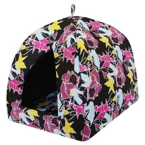 Домик для собак и кошек ZOOexpress Вигвам Оригами №1 38х38х40 см черный