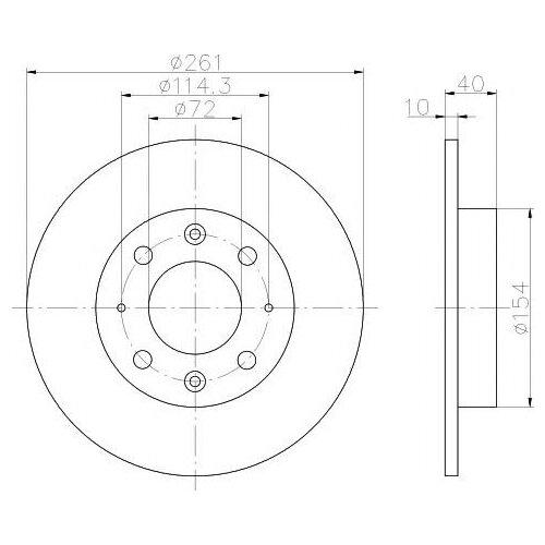 цена на Тормозной диск задний Valeo R2014 261x10 для Kia Carens