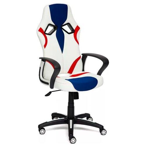 Компьютерное кресло TetChair Runner игровое, обивка: текстиль/искусственная кожа, цвет: белый/синий/красный компьютерное кресло tetchair runner игровое обивка текстиль искусственная кожа цвет черный желтый