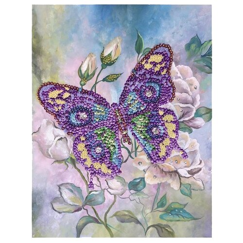 Волшебная Мастерская Мозаика из пайеток на холсте Бабочка МХ-15Картины из пайеток<br>
