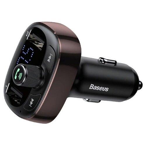 Автомобильная зарядка Baseus T typed Bluetooth MP3 charger with car holder, dark coffee зарядное устройство baseus t typed wireless mp3 charger with car holder black cctm b01