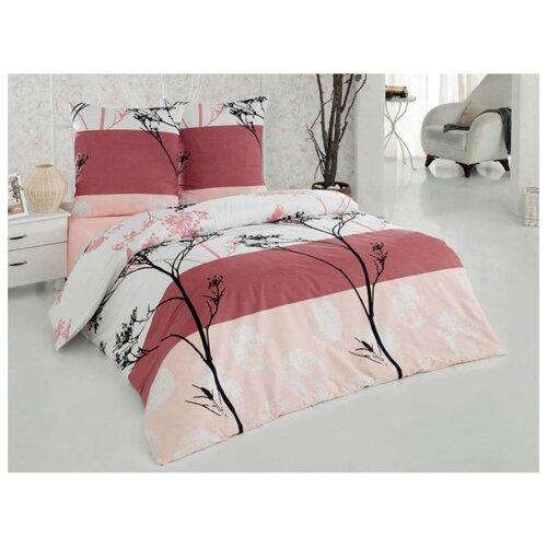 цена Постельное белье 1.5-спальное ТЕТ-А-ТЕТ Мунлайт, бязь белый/розовый онлайн в 2017 году