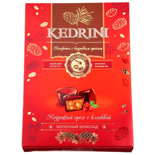 Набор конфет Kedrini Кедровый орех с клюквой в молочном шоколаде 80 г красный