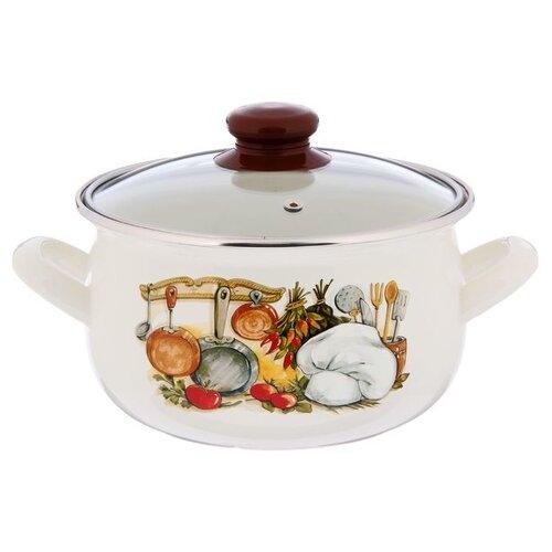 Кастрюля Интерос Кухня 4 л, белый/коричневый кастрюля интерос лаванда 4 л