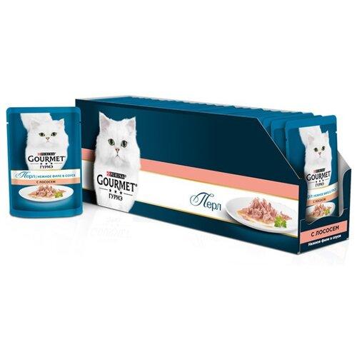 Корм для кошек Gourmet Перл с лососем 24шт. х 85 г (кусочки в соусе) корм для кошек gourmet перл с говядиной 24шт х 85 г кусочки в соусе