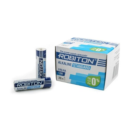 Фото - Батарейка ROBITON Alkaline Standart LR6/AA, 20 шт. батарейка smartbuy aa lr6 ultra alkaline 40 шт