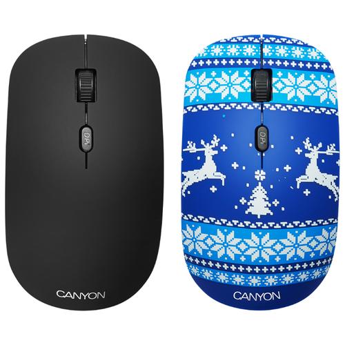 Мышь Canyon CND-CMSW401JB Новогоднее настроение Blue USB
