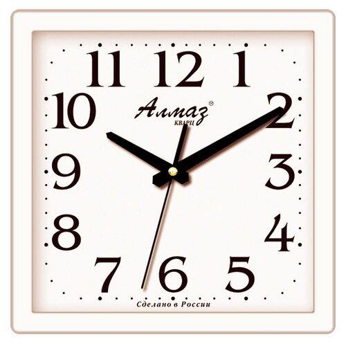 Часы настенные кварцевые Алмаз M02/M19 белый часы настенные кварцевые алмаз p12 золотистый белый