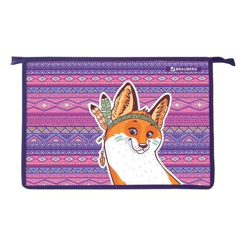 Купить BRAUBERG Папка для тетрадей с молнией сверху А4 Лис фиолетовый/оранжевый, Файлы и папки