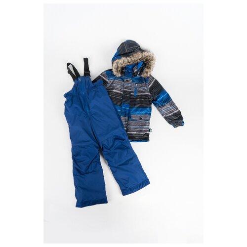 Купить Комплект с полукомбинезоном Buki размер 89, синий/серый/черный, Комплекты верхней одежды