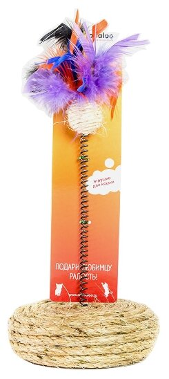 Когтеточка Zoobaloo шарик с пером на пружине и подставке 10 х 25 см
