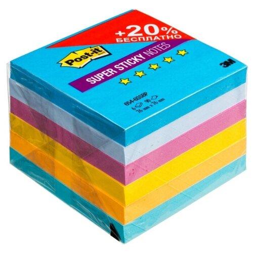 Post-it Блок-кубик Super Sticky, 76x76 мм, 540 штук (654-6SS) воздух post it блок кубик optima 76x76 мм 100 штук r330 розовый неоновый