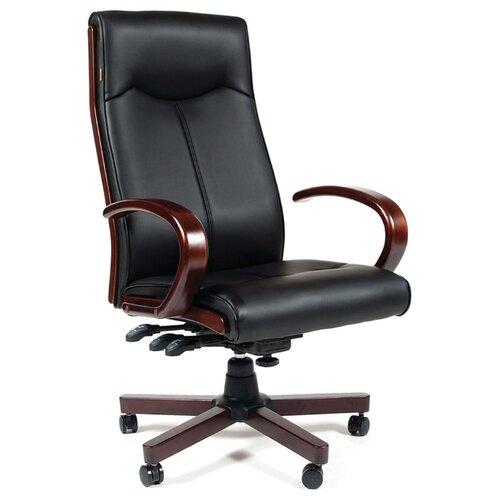 Фото - Компьютерное кресло Chairman 411 для руководителя, обивка: искусственная кожа, цвет: черный компьютерное кресло chairman 668 lt для руководителя обивка искусственная кожа цвет черный бежевый