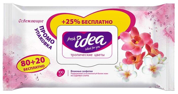 салфетки влажные Fresh idea, Тропические цветы , упаковка с крышкой , 100 шт