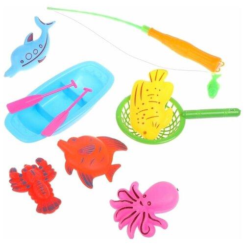 Фото - Рыбалка Наша игрушка 702-1 голубой/розовый/зеленый/оранжевый/желтый игрушка для ванной funny ducks ныряльщик уточка 1864 желтый оранжевый голубой