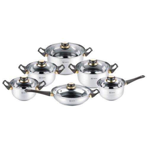 Набор посуды Rainstahl 1230-12RS/CW 12 пр. стальной/черный набор посуды rainstahl с антипригарным покрытием 12 предметов цвет белый 1855 12rs cw мrb
