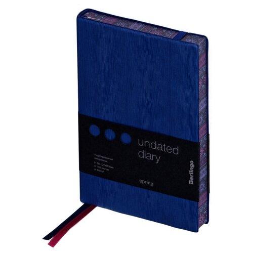 Купить Ежедневник Berlingo Spring недатированный, искусственная кожа, B6, 160 листов, синий, Ежедневники, записные книжки