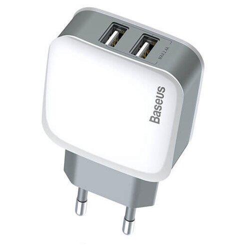 Сетевая зарядка Baseus Letour Dual U Charger+3-in with 1 cable белый