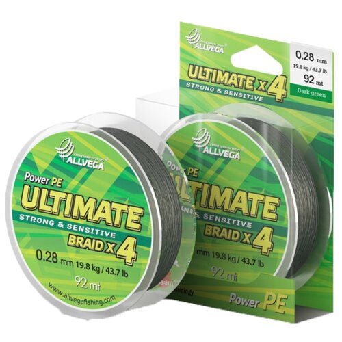 Плетеный шнур ALLVEGA ULTIMATE dark green 0.28 мм 92 м 19.8 кг