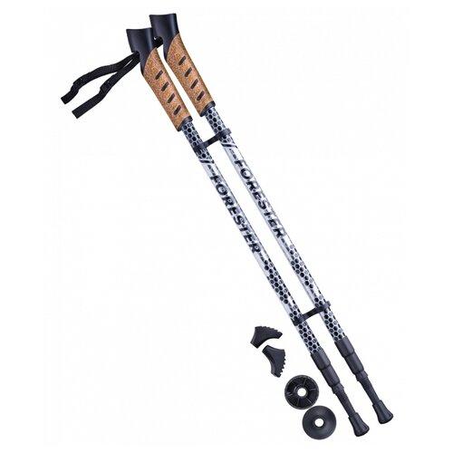 Палки для скандинавской ходьбы со сменными комплектующими BERGER Forester 3-секционная 67-135 см серый/черный