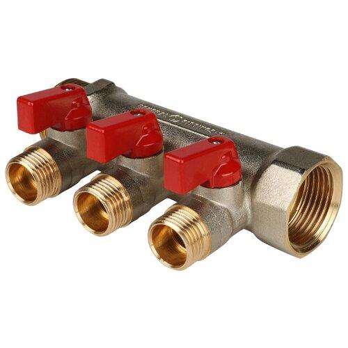 Коллектор проходной запорный STOUT (SMB 6200 011203) 1 НР-ВР, 3 отвода 1/2 (красные ручки) коллектор проходной запорный stout smb 6200 341204 3 4 нр вр 4 отвода 1 2 красные ручки